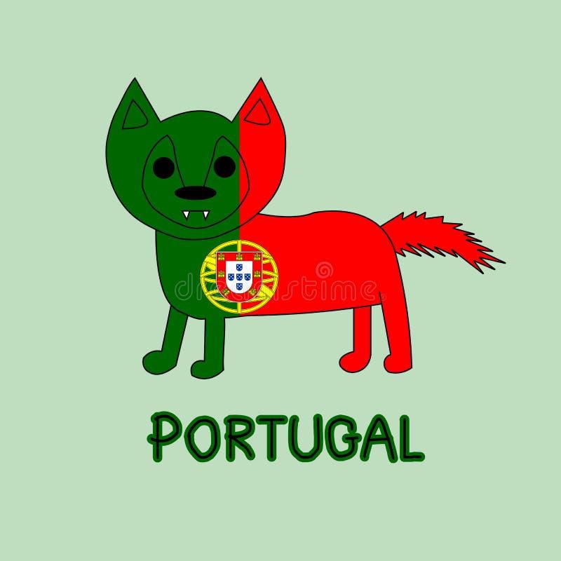 Imitación del color de la bandera de Portugal con el lobo, animal nacional foto de archivo libre de regalías