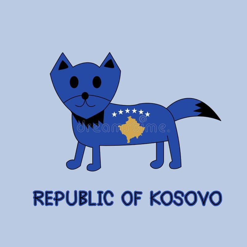 Imitación del color de la república de la bandera con el Fox, animal famoso de Kosovo imagenes de archivo