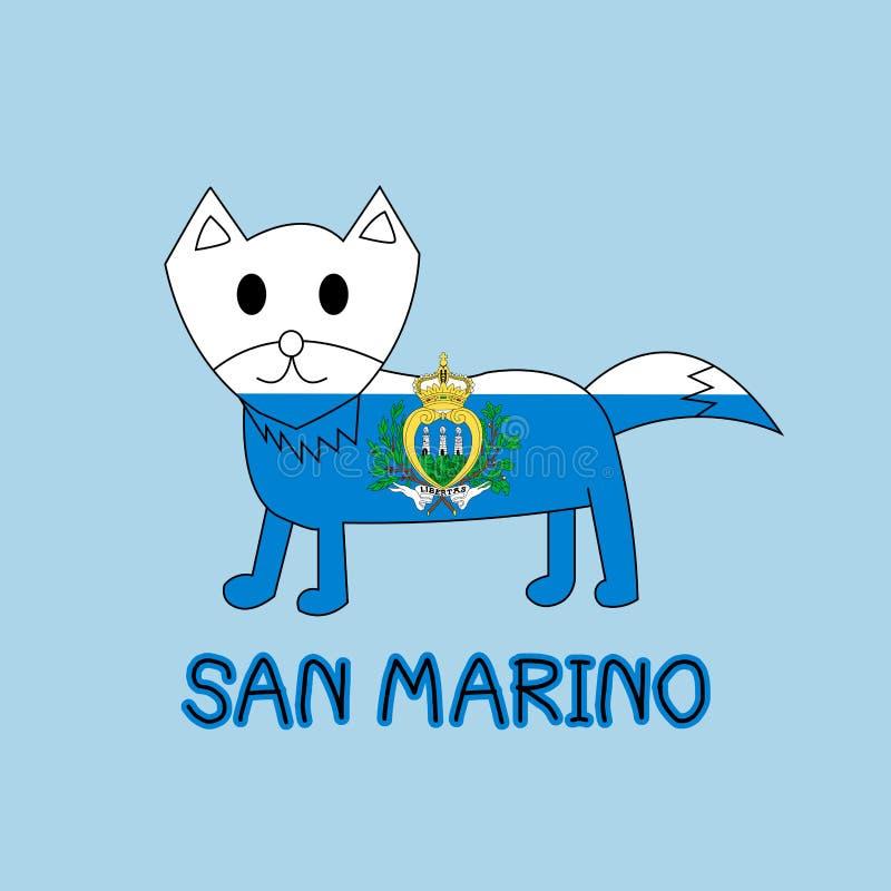 Imitación del color de San Marino Flag con el Fox, animal famoso foto de archivo libre de regalías