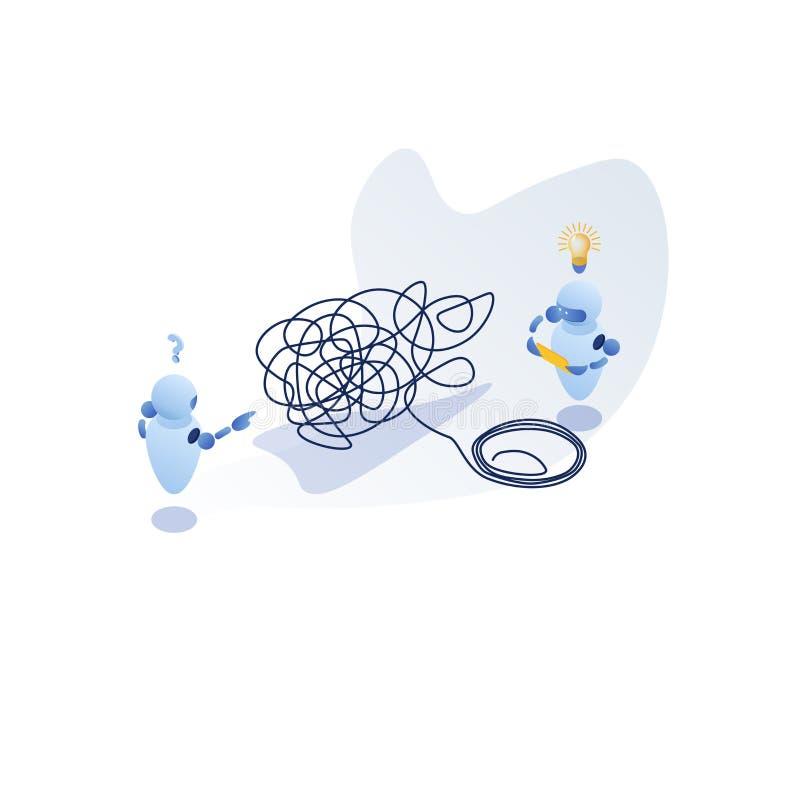 Imitaciones isométricas, enredadas y sin enredar metáfora abstracta, concepto de solución de problemas empresariales ilustración del vector