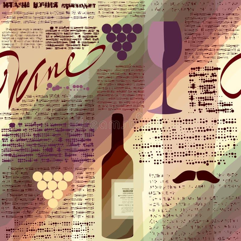 Imitacja gazetowy wino ilustracja wektor