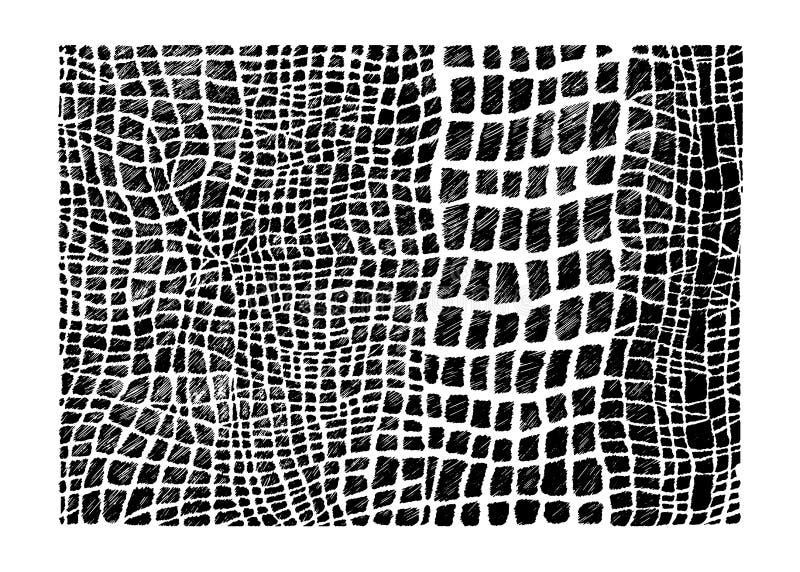 Imitatie van de voorraad de vectorhand getrokken abstracte rocodile huid Ð ¡ vector illustratie