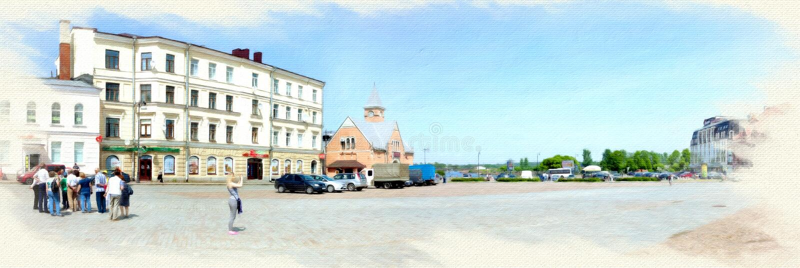 Imitatie van het beeld Marktvierkant in Vyborg Panorama royalty-vrije stock fotografie