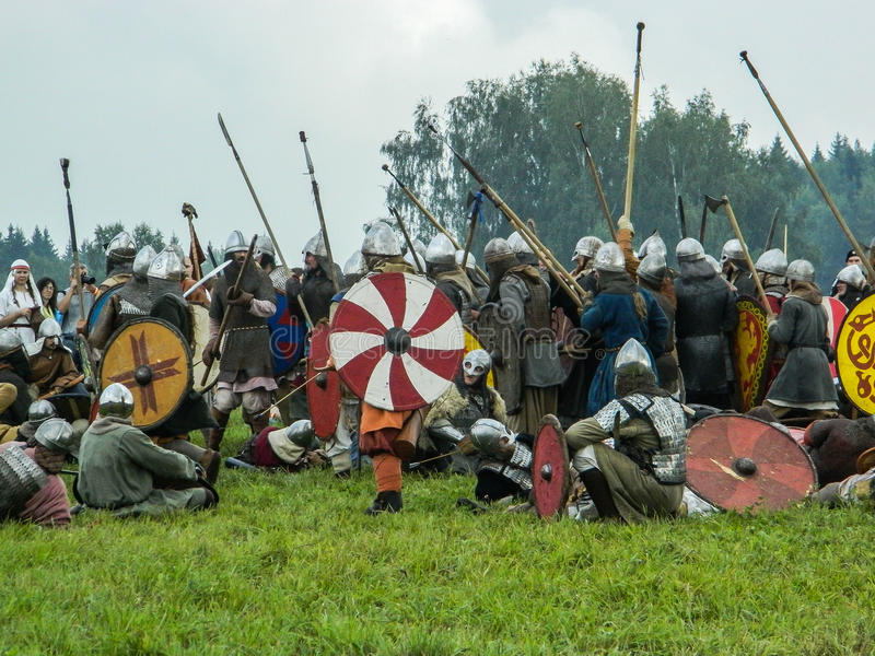 Imitation battles of the ancient Slavs during the festival of historical clubs in the Kaluga region of Russia. In recent years, Russia became widespread royalty free stock image