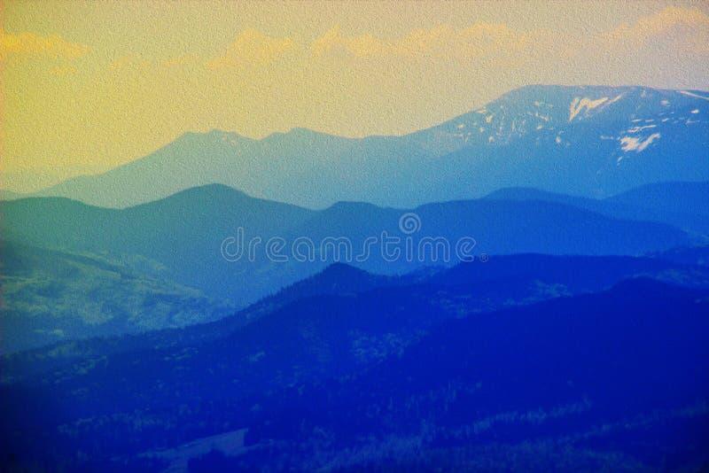 Imitation de la peinture à l'huile Paysage de stupéfaction d'un lever de soleil doux de matin un matin chaud d'été illustration de vecteur