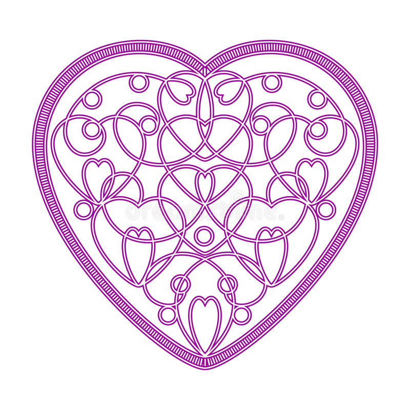 Imitation embroidered pattern of hearts royalty free stock photos