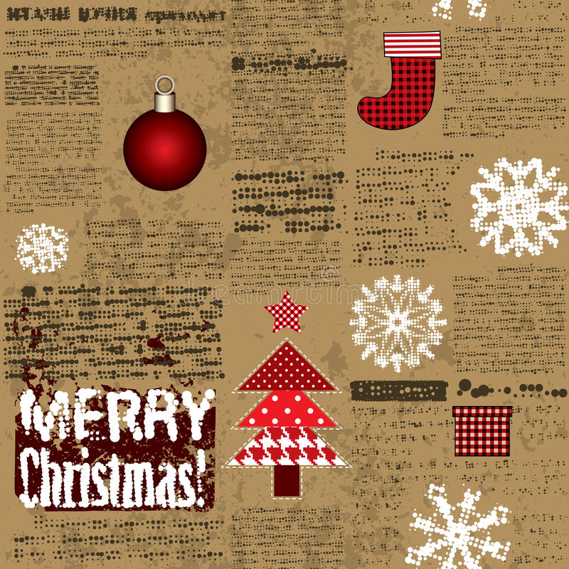 Imitation Of The Newspaper With Christmas Elements Stock Image