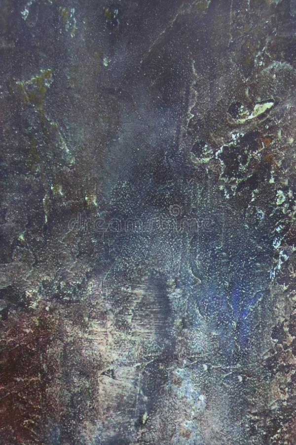 Imitation of an old painted wall in several layers and colors. Abstract background: blue, green, red, gray. Imitation of an old painted wall in several layers stock photos