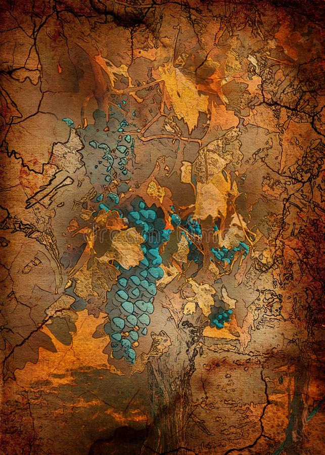 Blue Grapes With Autumn Leaves. Imitation of an old picture. Bunches of grapes in autumn on vintage paper. Inspired by the works of great artists of the past stock illustration