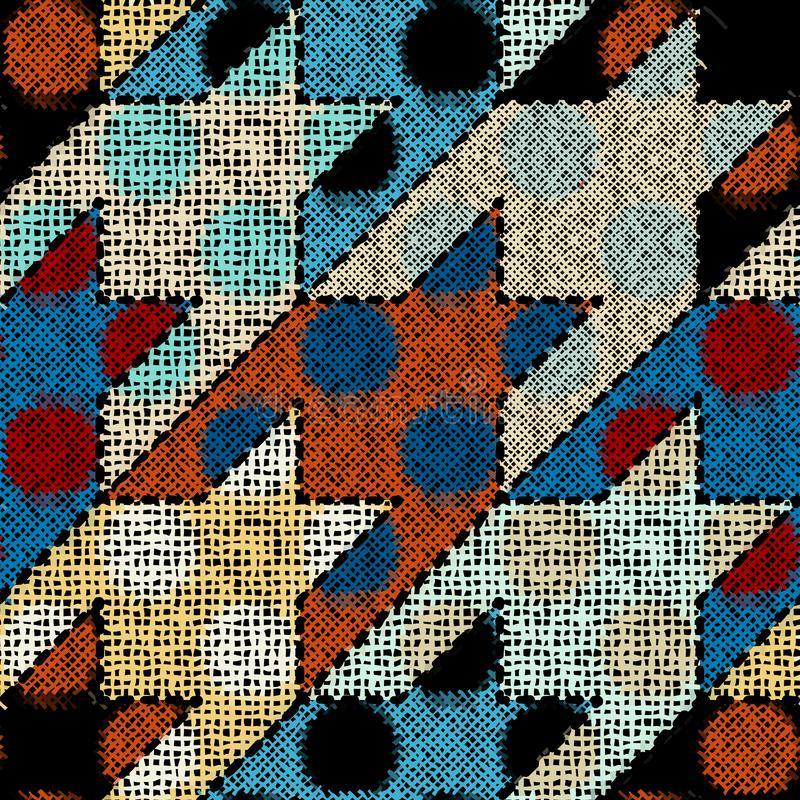 Imitation of a texture of rough canvas. Seamless pattern. Imitation of indian patchwork pattern with texture canvas Hounds-tooth pattern. Vector seamless image stock illustration