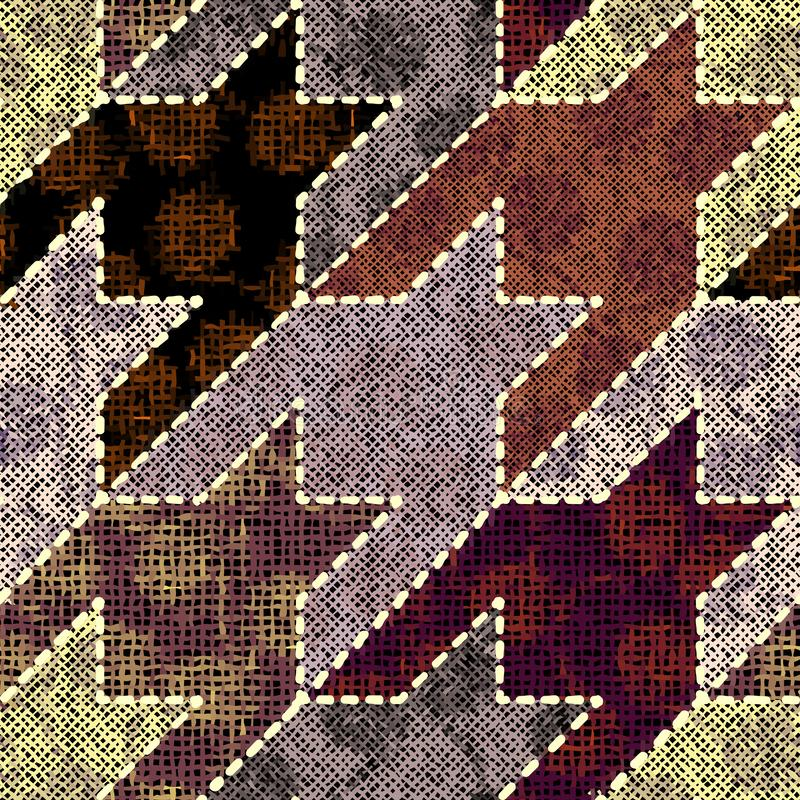 Imitation of a texture of rough canvas. Seamless pattern. Imitation of indian patchwork pattern with texture canvas Hounds-tooth pattern. Vector seamless image vector illustration