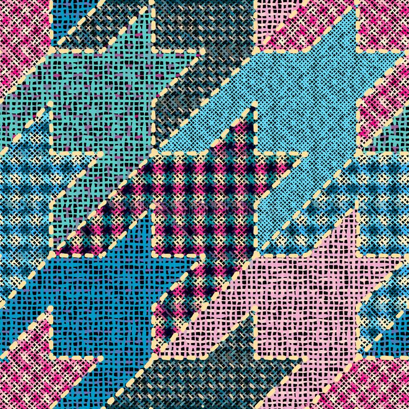 Imitation of a texture of rough canvas. Seamless pattern. Imitation of indian patchwork pattern with texture canvas Hounds-tooth pattern. Vector seamless image royalty free illustration