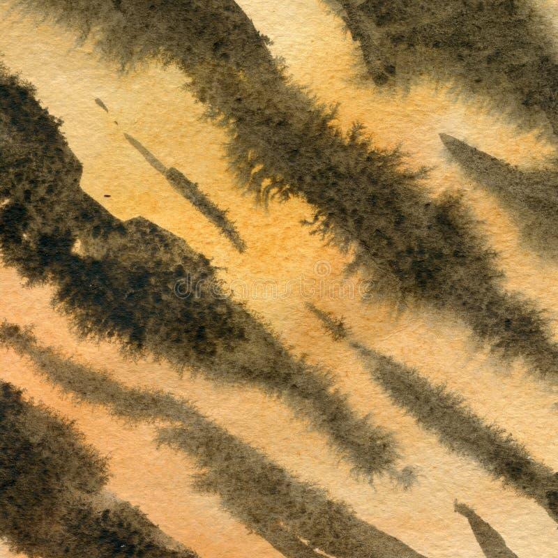 Imitazione della pelle della tigre, colore animale di struttura dell'acquerello Bande di marrone scuro su un fondo arancio Illust royalty illustrazione gratis