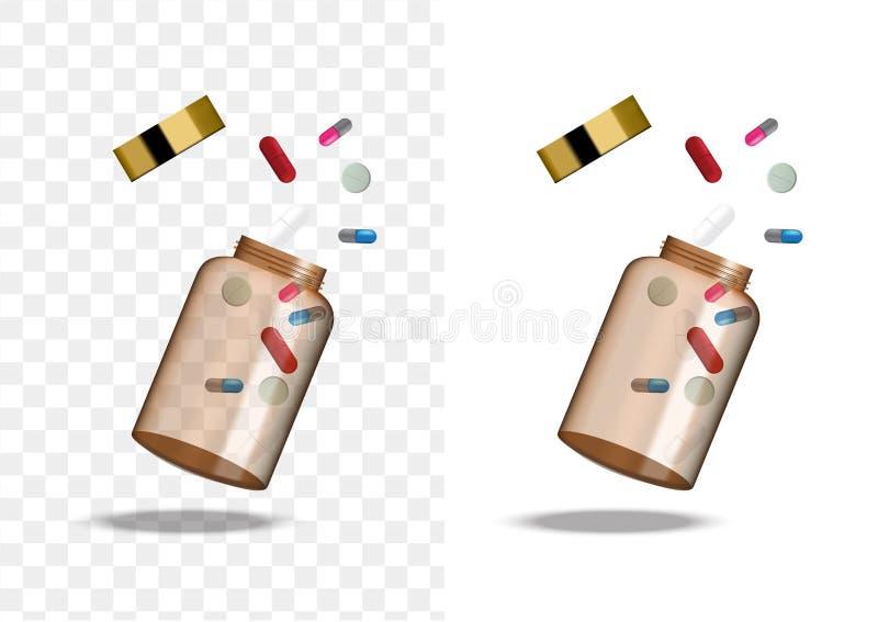 Imite encima de Amber Glass Transparent Packaging Product realista para el fondo aislado botella cosmético de la belleza o de la  stock de ilustración