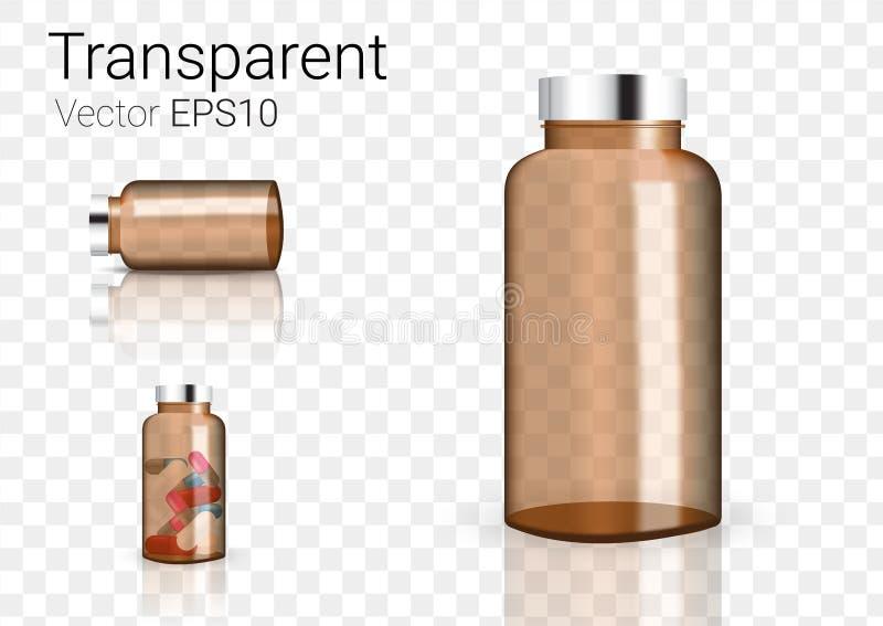 Imite encima de Amber Glass Transparent Packaging Product realista para el fondo cosmético de la botella de la belleza o de la me ilustración del vector