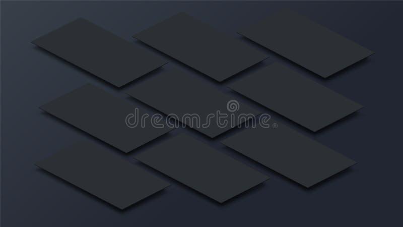 Imite encima de interfaz móvil del app en la opinión de perspectiva 3D Pantalla en blanco del app Relación de aspecto horizontal  ilustración del vector