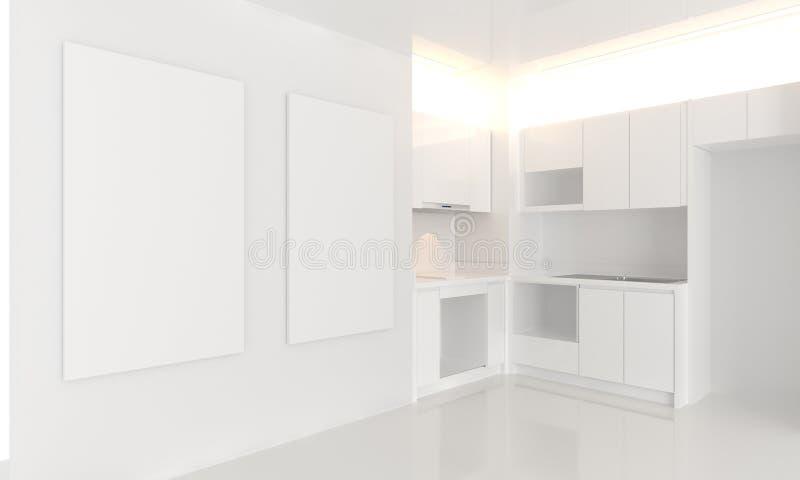 Imite encima de la esquina blanca del tono del diseño interior de la cocina ilustración del vector