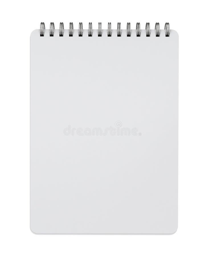 Imite encima de la mentira vacía del cuaderno espiral aislada en el fondo blanco ilustración del vector