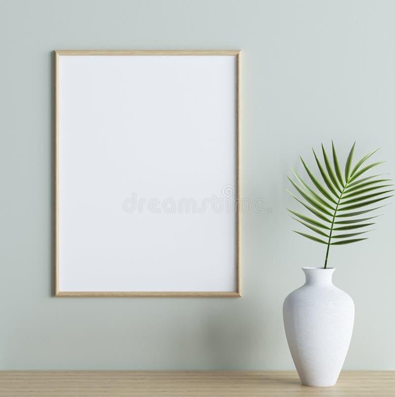 Imite encima de marco del cartel con la planta en florero en estante en fondo interior ilustración del vector