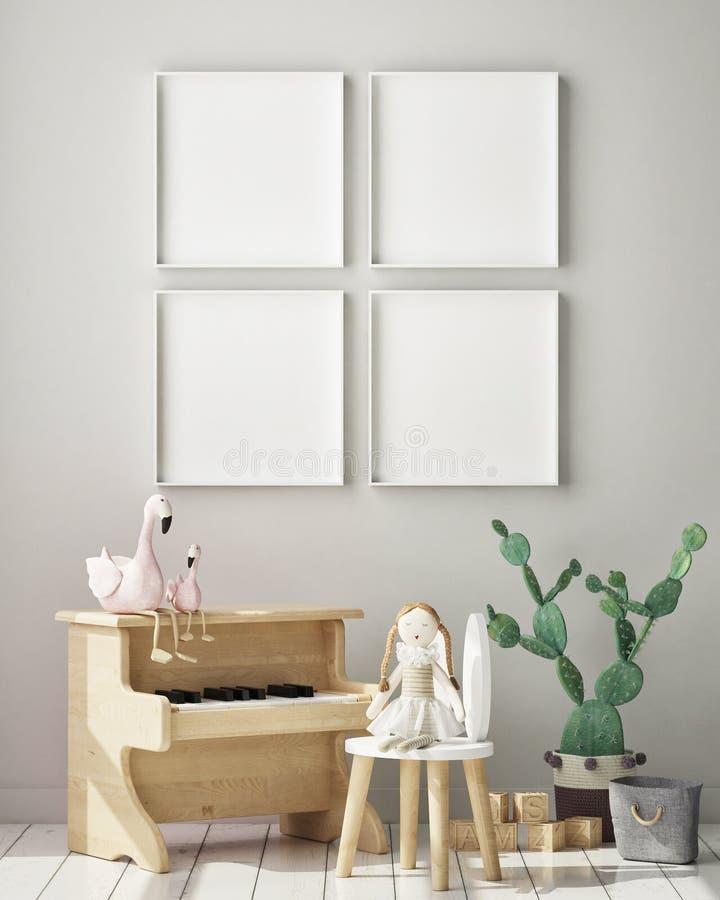 Imite encima de marco del cartel en el dormitorio de los ni?os, fondo interior del estilo escandinavo, 3D rinden, el ejemplo 3D libre illustration