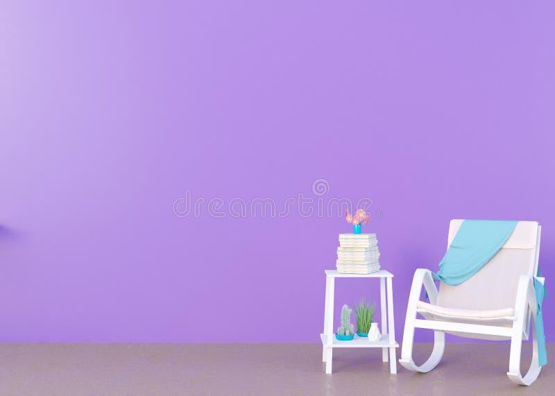 Imite encima de marco del cartel en el fondo interior del concepto del verano, ejemplo 3D, rinda stock de ilustración