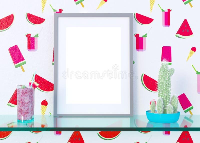 Imite encima de marco del cartel en el fondo interior del concepto del verano, ejemplo 3D, rinda ilustración del vector