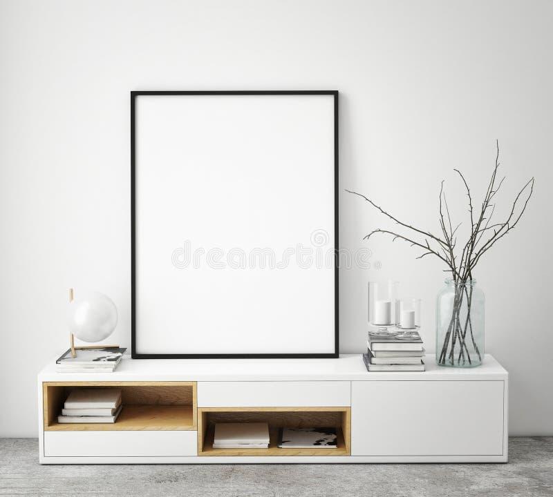 Imite encima de marco del cartel en el fondo interior del inconformista, estilo escandinavo, stock de ilustración