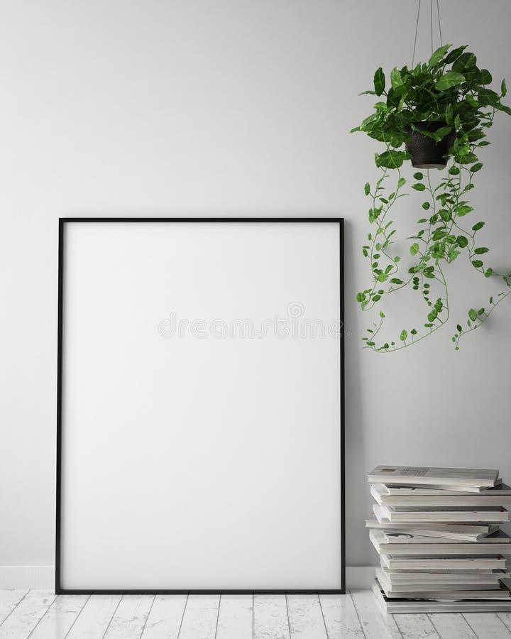 Imite encima de marco del cartel en el fondo interior del inconformista, estilo escandinavo, 3D rinden, ilustración del vector