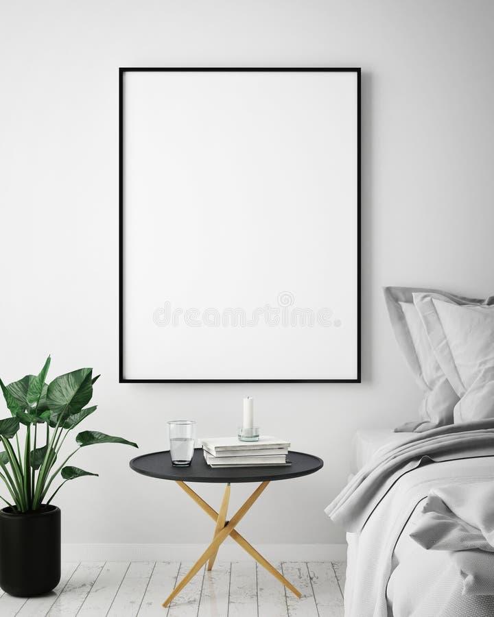 Imite encima de marco del cartel en el fondo interior del inconformista, estilo escandinavo, 3D rinden, stock de ilustración
