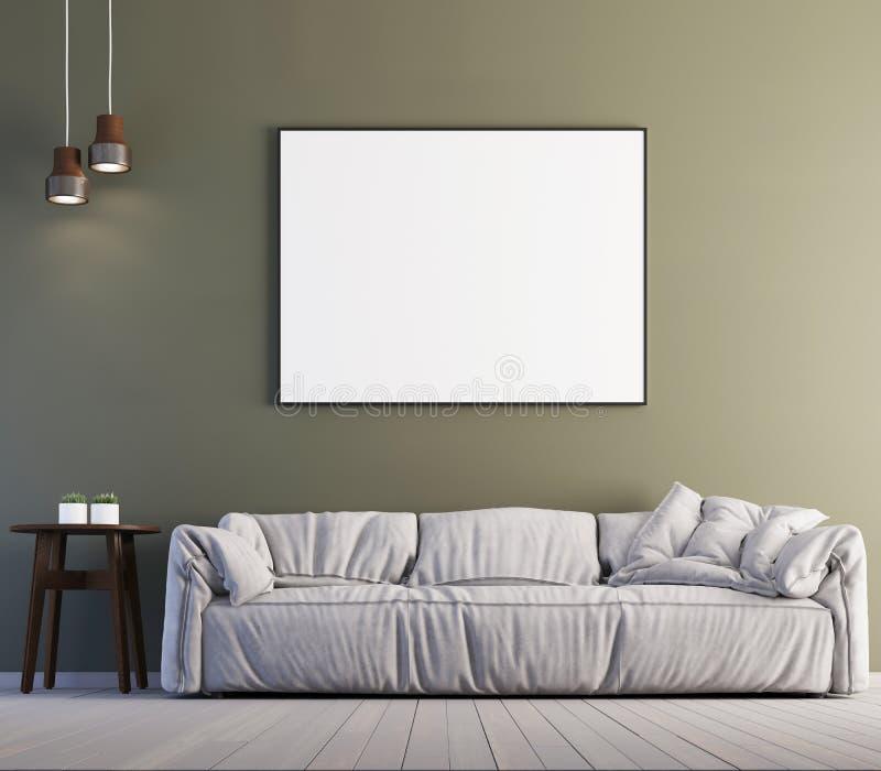 Imite encima de marco del cartel en el fondo interior, estilo contemporáneo, 3D rinden ilustración del vector