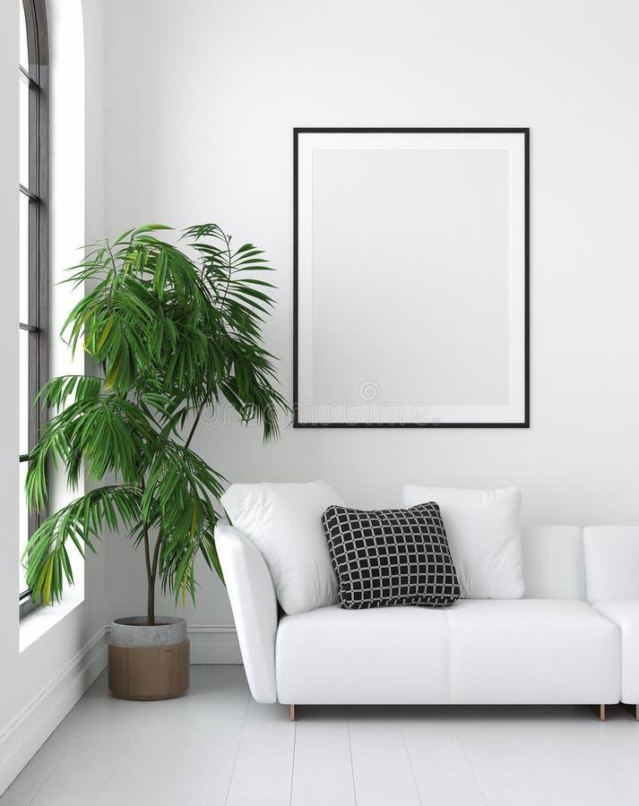 Imite encima de marco del cartel en el fondo interior, estilo escandinavo stock de ilustración