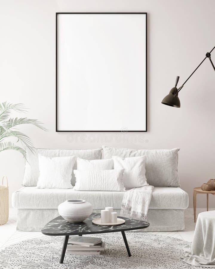Imite encima de marco del cartel en el fondo interior del inconformista, estilo escandinavo, fotografía de archivo libre de regalías