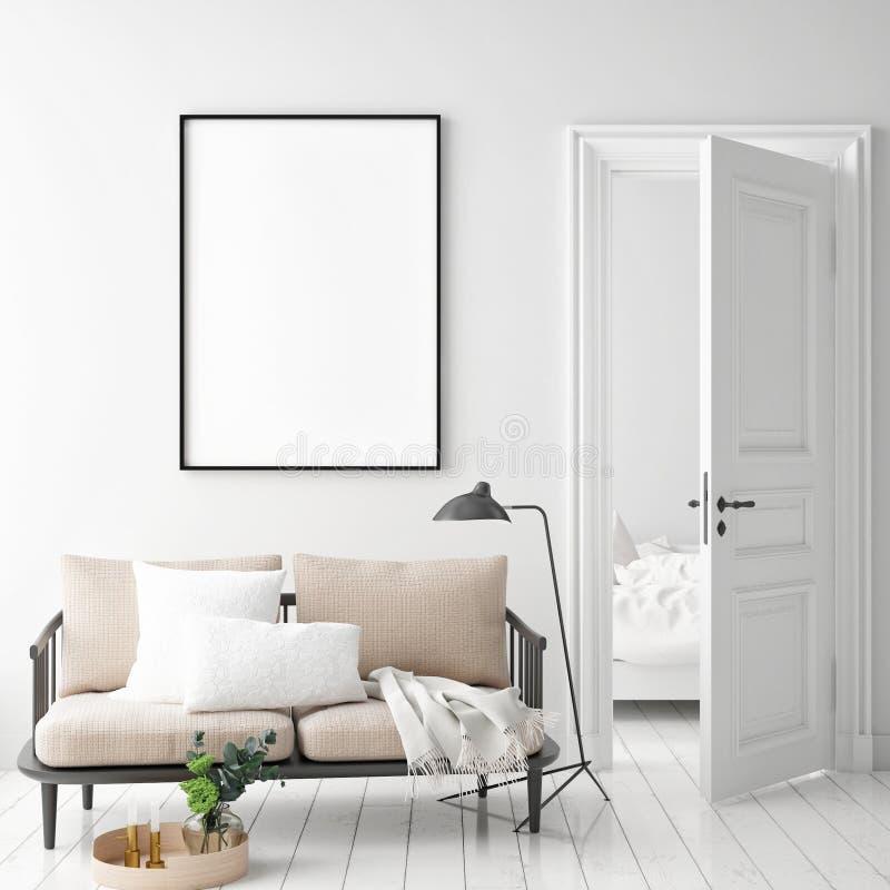 Imite encima de marco del cartel en el fondo interior del inconformista, estilo escandinavo imágenes de archivo libres de regalías