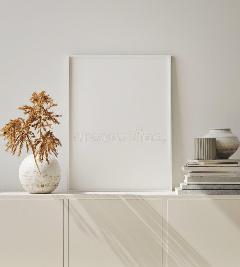 Imite encima de marco del cartel en el fondo interior del inconformista, sala de estar, estilo escandinavo, 3D rinden, el ejemplo stock de ilustración