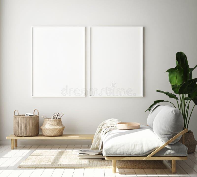 Imite encima de marco del cartel en el fondo interior del inconformista, sala de estar, estilo escandinavo, 3D rinden, el ejemplo ilustración del vector