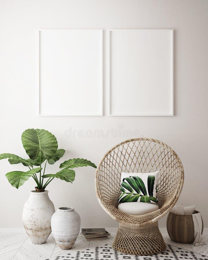 Imite encima de marco del cartel en el fondo interior tropical, estilo del Caribe moderno libre illustration