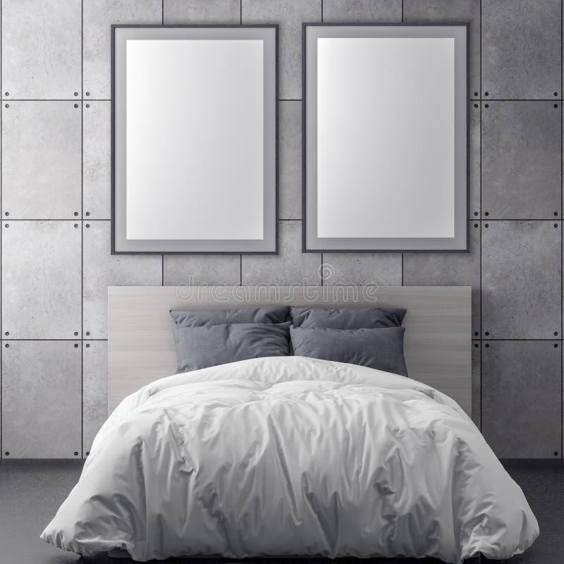 Imite encima de marco del cartel en el fondo y el muro de cemento interiores, del dormitorio ejemplo 3D stock de ilustración