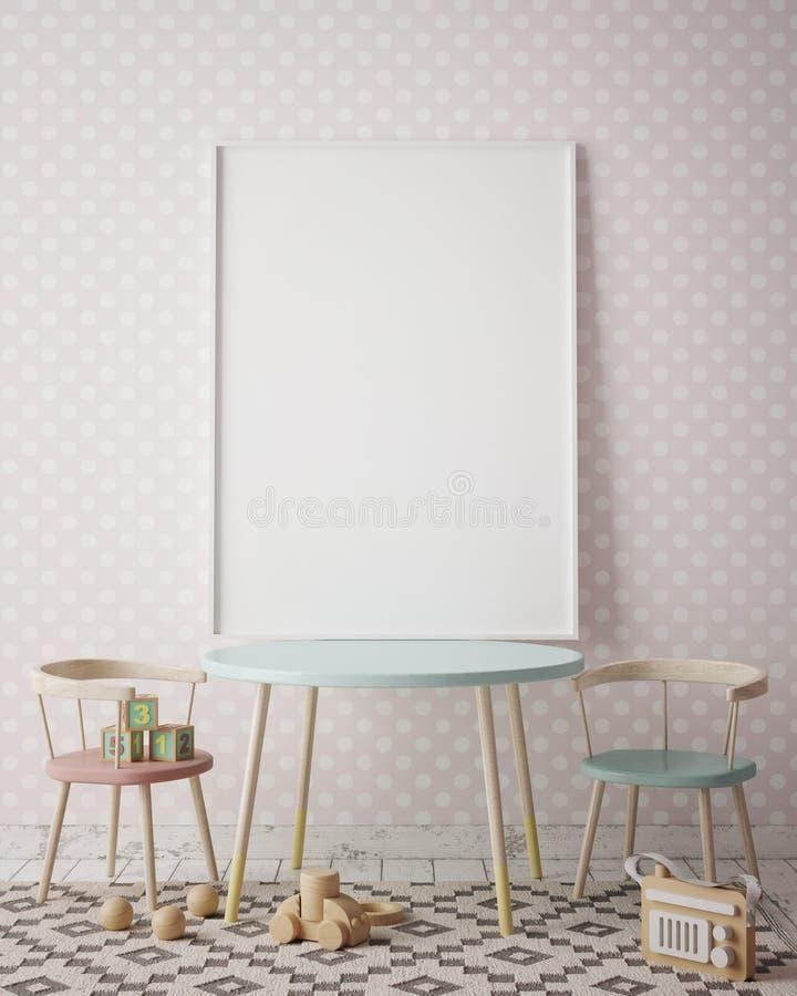 Imite encima de marco del cartel en el sitio de niños, fondo interior del estilo escandinavo, 3D rinden ilustración del vector