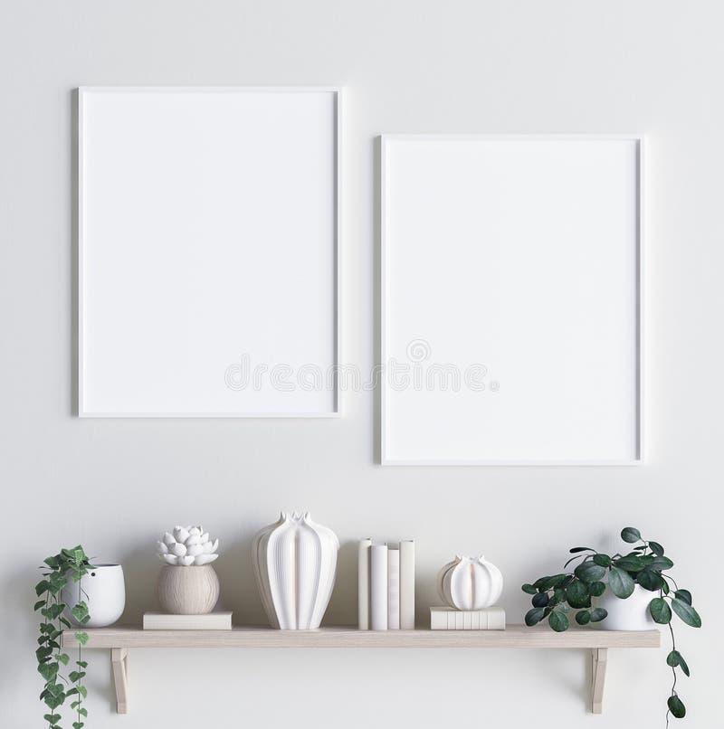 Imite encima de marco del cartel en fondo interior con la decoración en estante stock de ilustración