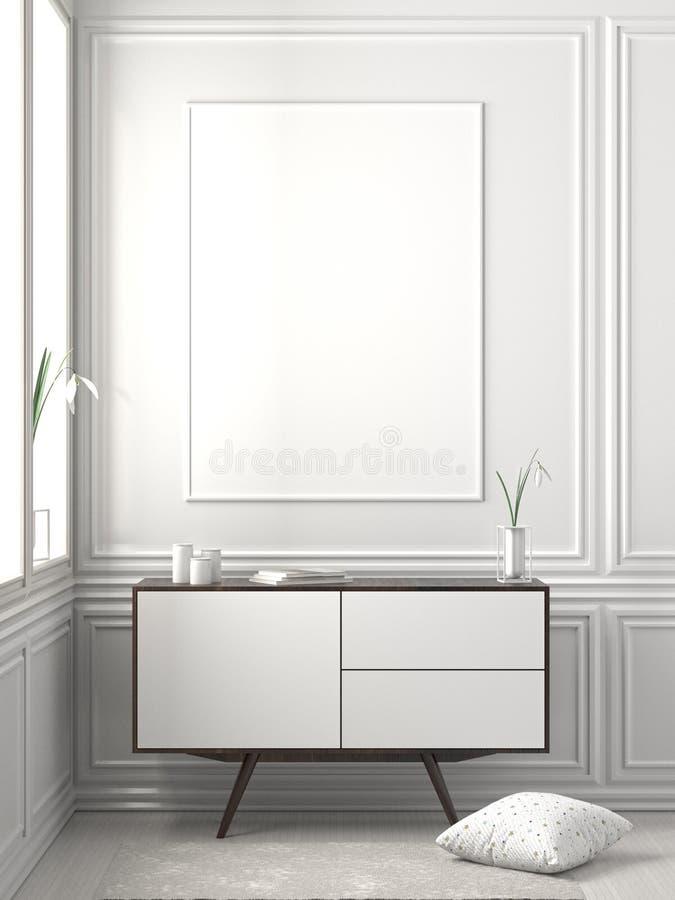Imite encima de marco del cartel en interior escandinavo del inconformista del estilo ilustración 3D imágenes de archivo libres de regalías