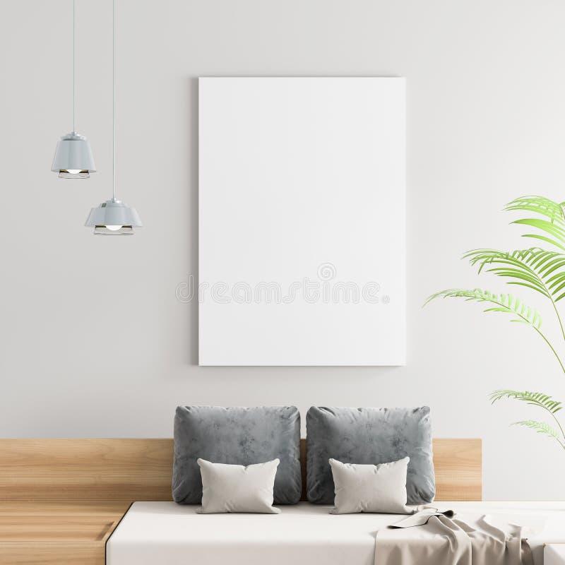 Imite encima de marco del cartel en interior escandinavo del inconformista del estilo Interior moderno blanco ilustración 3D imagen de archivo libre de regalías