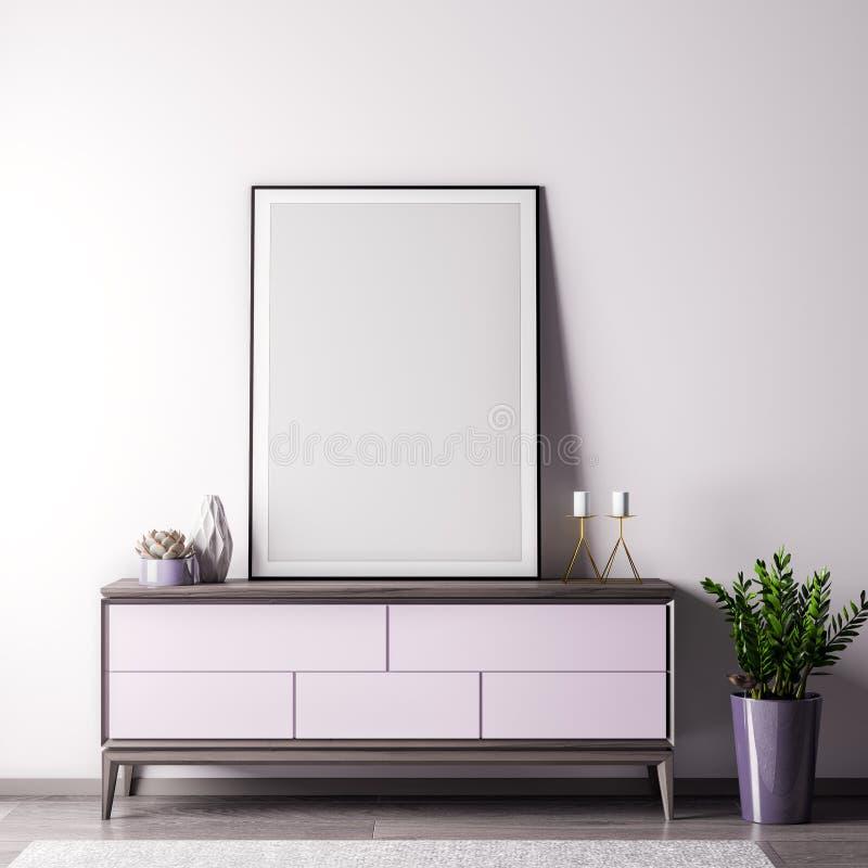 Imite encima de marco del cartel en sitio interior con el estilo wal, moderno blanco, ejemplo 3D imagenes de archivo