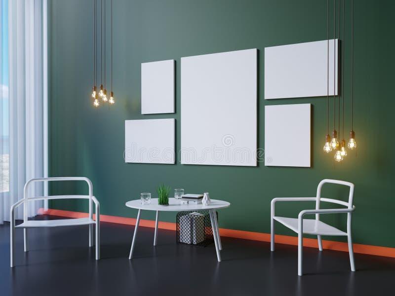 Imite encima de marco del cartel y blanco, el ejemplo 3D stock de ilustración