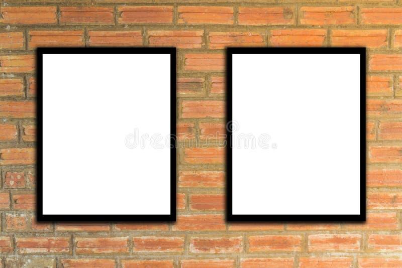Imite encima de marco del cartel y inconformista o vintage de la pared de ladrillo 3 fotos de archivo libres de regalías