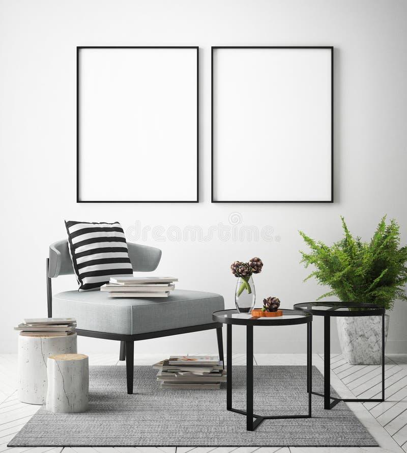 Imite encima de marco de los carteles en el fondo interior del inconformista, estilo escandinavo, stock de ilustración