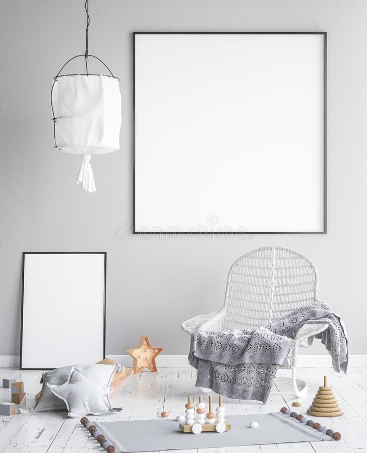 Imite encima de marco de los carteles en el sitio de niños, fondo escandinavo del interior del estilo libre illustration