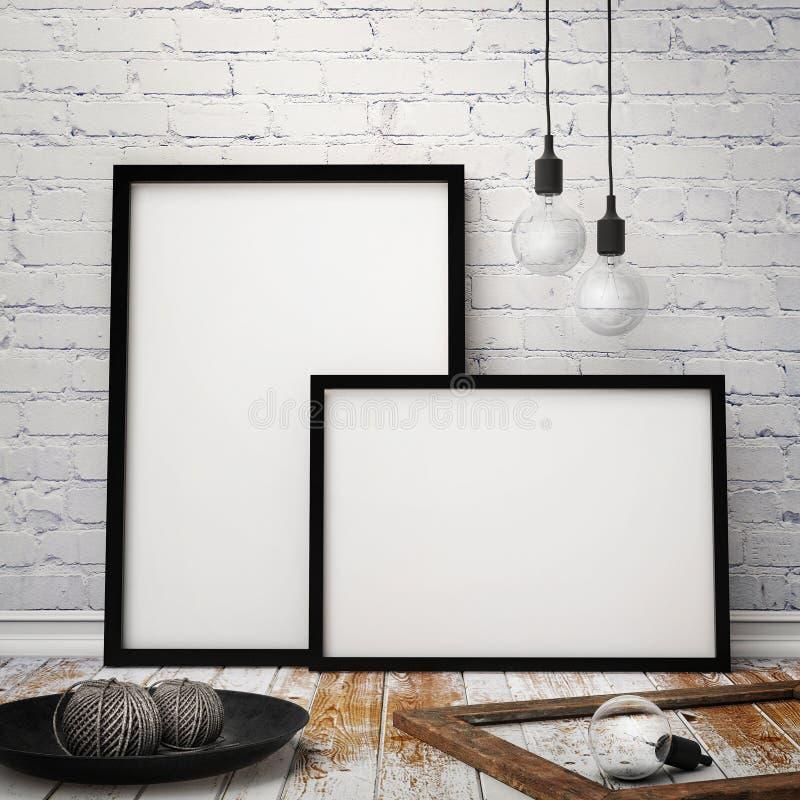 Imite encima de marcos de los carteles con el fondo del desván del inconformista del vintage, 3D rinden libre illustration