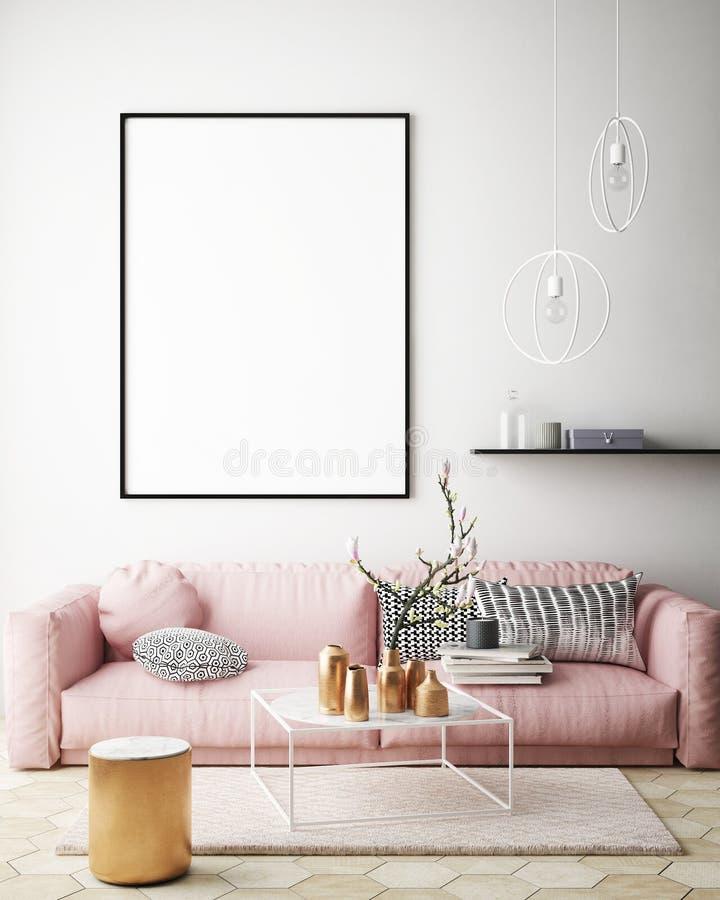 Imite encima de marcos del cartel en el dormitorio de los niños, fondo interior del estilo escandinavo, 3D rinden ilustración del vector