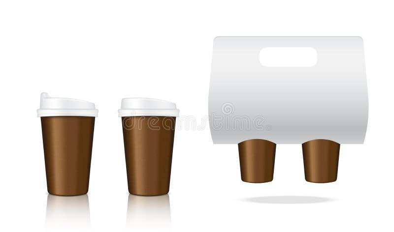 Imite encima de producto de empaquetado realista de la taza de papel del café y del portador de papel para el ejemplo para llevar ilustración del vector