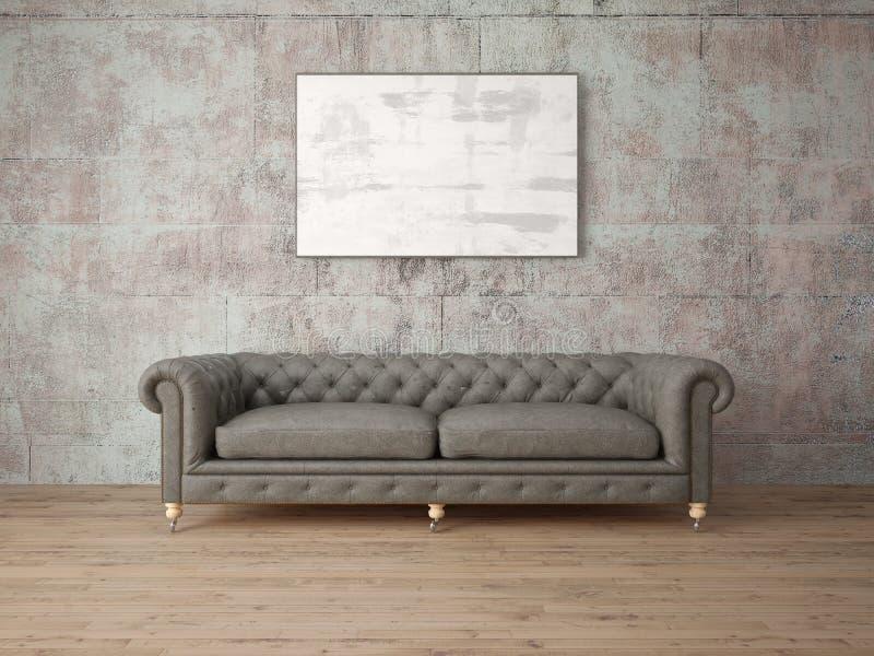 Imite encima de salón clásico con el sofá cómodo de moda libre illustration